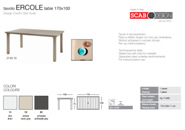Ercole la nouvelle table de SCAB outdoor